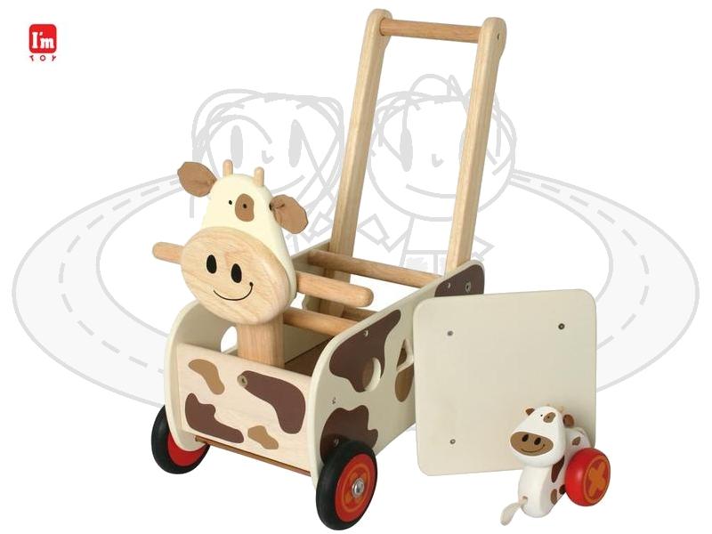 schiebewagen kuh aus holz braune flecken lauflernwagen lauflernhilfe i m toy. Black Bedroom Furniture Sets. Home Design Ideas